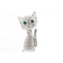 Brož Kočička větší Swarovski ELEMENTS