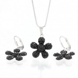 Stříbrné kytičky zdobené křišťálovými kameny Swarovski®