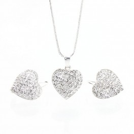Souprava stříbrné srdíčko AG 925/1000 s třpytivými krystaly od společnosti Swarovski®