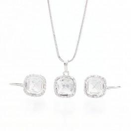 Stříbrná souprava s kameny Swarovski® a s obtahem