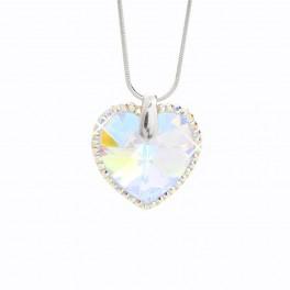 Stříbrný náhrdelník Srdce s obtahem z křišťálových kamenů Swarovski®