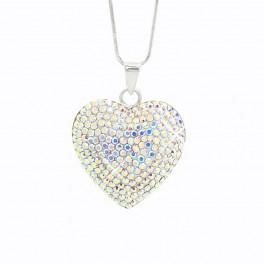 Stříbrný náhrdelník Velké Srdce z křišťálových kamenů Swarovski®