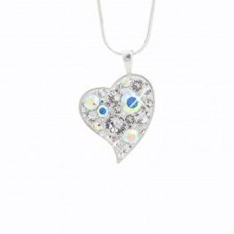 Stříbrné srdce AG 925/1000 30mm s blyštivými kameny Swarovski®