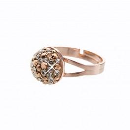 Stříbrný prsten Bombé Extramix 10 s kameny Swarovski® v barvě růžového zlata