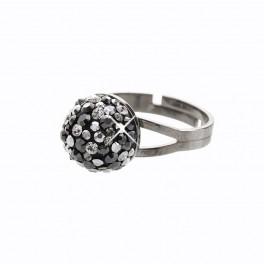 Stříbrný prsten Bombé Extramix 10 s kameny Swarovski® v barvě ruthenia