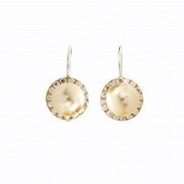 Stříbrné náušnice Perly s obtahem v barvě zlata zdobené křišťálovými kameny Swarovski®