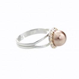 Stříbrný prsten Perla s obtahem zdobený křišťálovými kameny Swarovski®