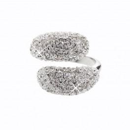 Stříbrný prsten Extramix Bombé s křišťálovými kameny Swarovski® v barvě Rhodia