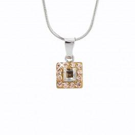 Stříbrný náhrdelík čtverec s obtahem zdobený křišťálovými kameny Swarovski®