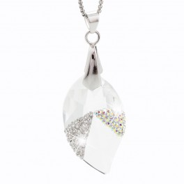 Visací náhrdelník Lístek s kameny Swarovski®