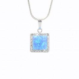 Stříbrný náhrdelník čtverec velikosti L s Opálky s obtahem a povrchovou úpravou Rhodium zdobené křišťálovými kameny Swarovski®