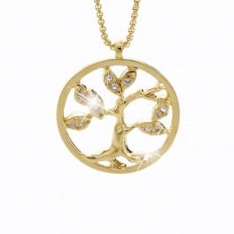 Náhrdelník Strom života s kameny Swarovski® v barvě zlata