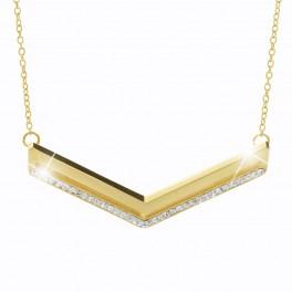 Ocelový náhrdelník V s třpytivými kameny od společnosti Swarovski®