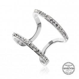 Stříbrný prsten Space s křišťálovými kameny Swarovski® v barvě Rhodia