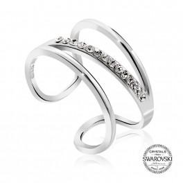 Stříbrný prsten Space Cross s křišťálovými kameny Swarovski® v barvě Rhodia