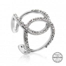 Stříbrný prsten Arcs s křišťálovými kameny Swarovski® v barvě Rhodia