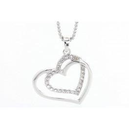 Náhrdelník Zdvojené srdce s krystaly Swarovski