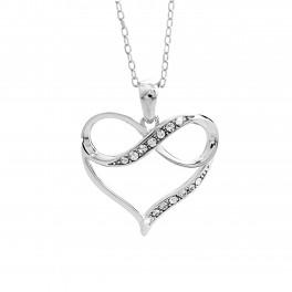 JSB Bijoux Stříbrný Náhrdelník AG 925/1000 Srdce + Infinity s kameny Swarovski